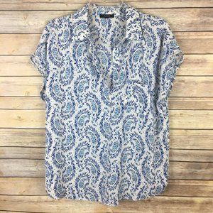 Pleione Large White Blue Paisley Blouse